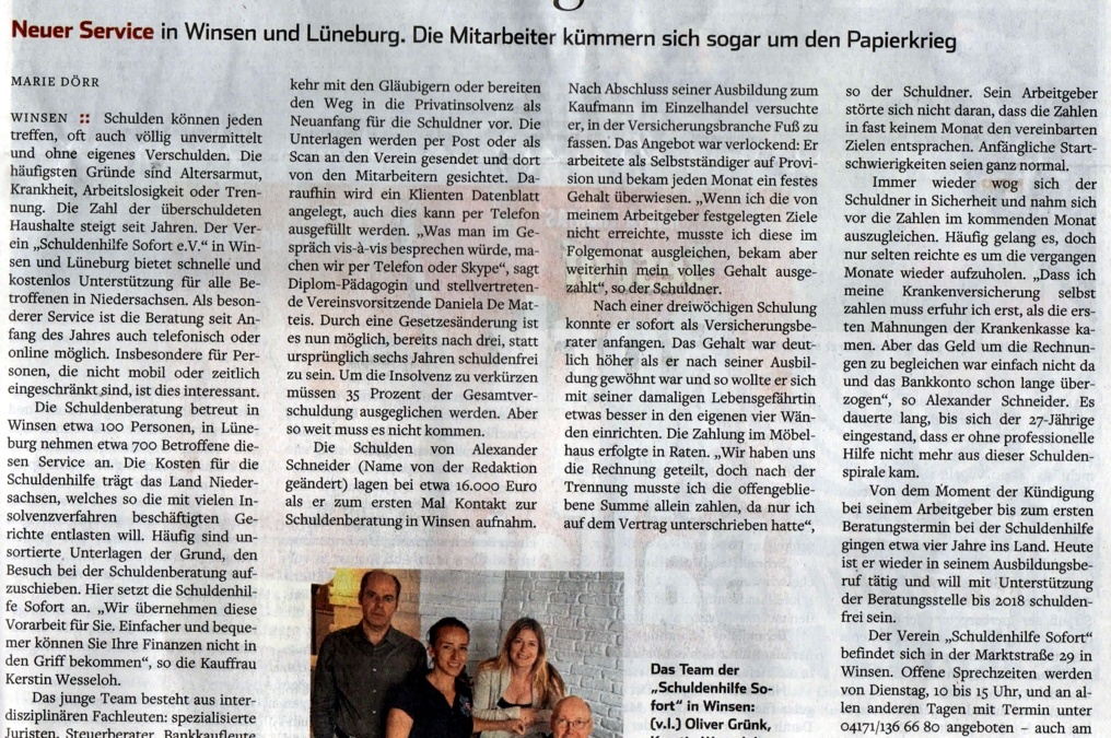Neuer, mobiler Service für Schuldner in ganz Niedersachsen!